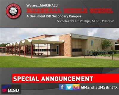 The Marshall Middle School family cordially invites ALL parents of incoming 6th graders.